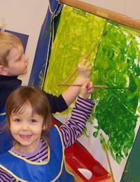 bo and girl watercoloring
